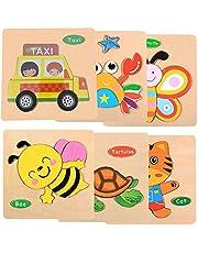 SIMUER Puzzles de Madera Educativos para Bebé, Colorido Rompecabezas de Animales 6 Piezas niños Juguetes educativos de Inteligencia Rompecabezas (Pequeño Tigre Cangrejo Mariposa Abeja Tortuga Taxi)