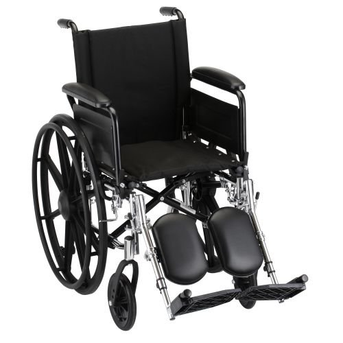 Nova MedicalProducts Healthcare 18'' Lightweight Wheelchair with Full Arms and Elevating Leg Rests