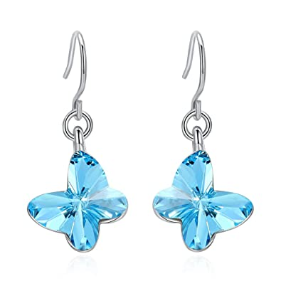 f87a6e545c00 Viennois Women s White Gold Cubic Zirconia Stud Earrings with Blue crystals  (blue butterfly