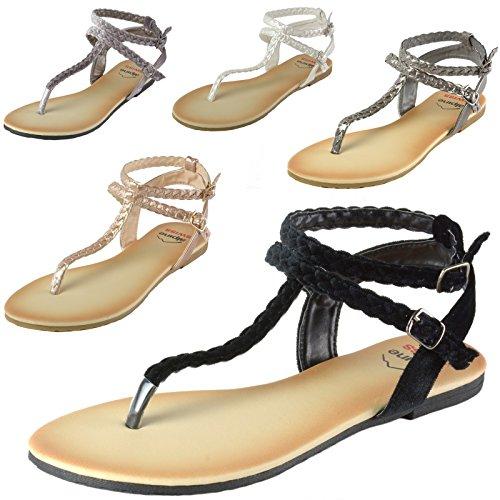 alpine swiss Womens Gladiator Sandals Braided T-Strap Slingback Roman Flats