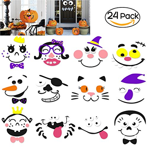 Foam Pumpkin Decorations Craft Kit for Halloween and Party, 24 Sets in 2 (Halloween Pumpkin Decorating Kits)