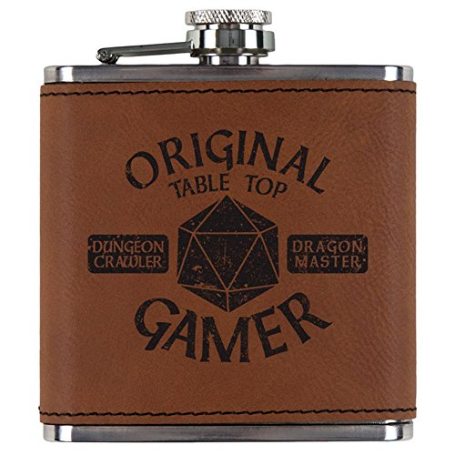 Old Glory OG Original Gamer d20 Table Top Edition Etched Leatherette Flask Rawhide Standard One Size