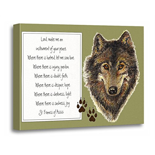 TORASS Canvas Wall Art Print Watercolor Animal St Francis of Assisi Prayer with Wolf Saint Artwork for Home Decor 16