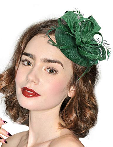 Hotvivid Fascinators for Women Tea Party Wedding Headband Feather Brooch Flower Mesh Hair Clip (Green-1)