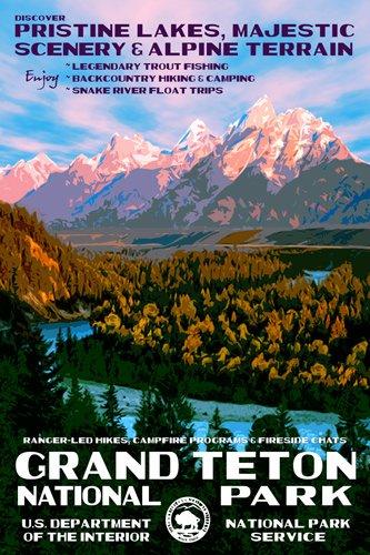 American Vinyl Grand Teton Poster Art Bumper Sticker (rv National Park Hike wy Snake River) (National Teton Sticker Park)