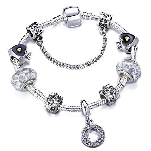 Bracelet Bangle for Women Crystal Flower Beads Fit Brand Bracelets Jewelry AE0219 ()