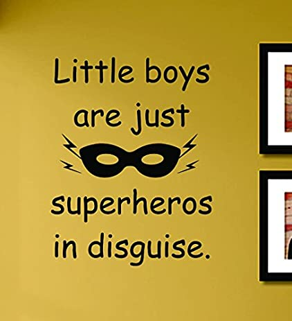 Amazon.com: Little boys are just superheros in disguise Vinyl Wall ...