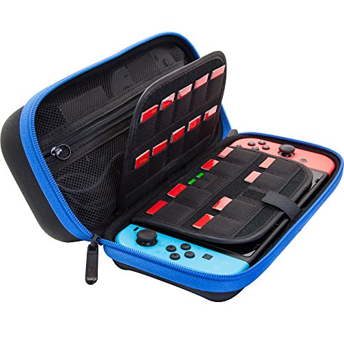 [Large Model] ButterFox Hard Case Stand for Nintendo Switch,Fits Wall Charger,Built-in Stand, 18 Game and 2 Micro SD Card Holders, Large Pouch for Nintendo Switch Console and Accessories (Blue/Black) ()