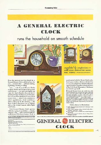 General Electric clock runs the household ad 1931 from The Jumping Frog