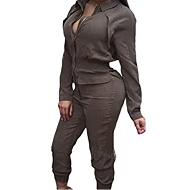 cd29201ad3d Amazon.com  Women s Long Sleeve Zipper Turn Down Collar Capri Pant Jumpsuit  Overall  Clothing