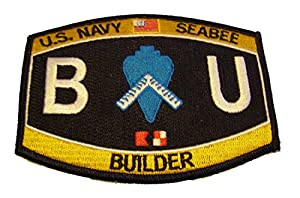 U.S. NAVY SEABEE BUILDER BU PATCH - Color - Veteran Owned Business by MG