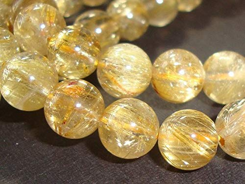 JP_BEADS 6.5-7mm, 15 inch Strand AA Genuine Golden Rutilated Quartz Smooth Round Beads