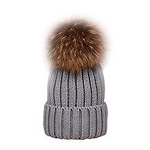 B1ST Women Girls Beanie Real Raccoon Fur Pom Pom Pompon Ball Winter Hats Knit Beanie