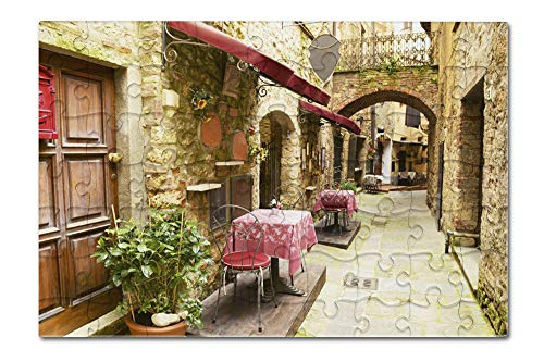 Tuscany, Italy - Alley Restaurant Seating - Photography A-92481 (8x12 Premium Acrylic Puzzle, 63 Pieces)