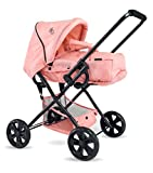 TRIOKID NEW Color 2 in 1 Baby Deluxe Doll Pram ViViLIne Stroller Peach Pink Drawable Fabric Kids Toys with Free Doll Carriage Bag