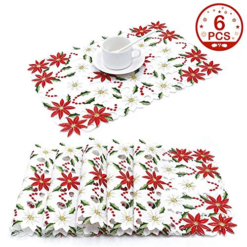 AerWo Christmas Holiday Placemats Set of 6, Embroidered Poinsettia Christmas Table Place Mats for Christmas Dinner 12 × 18 Inch