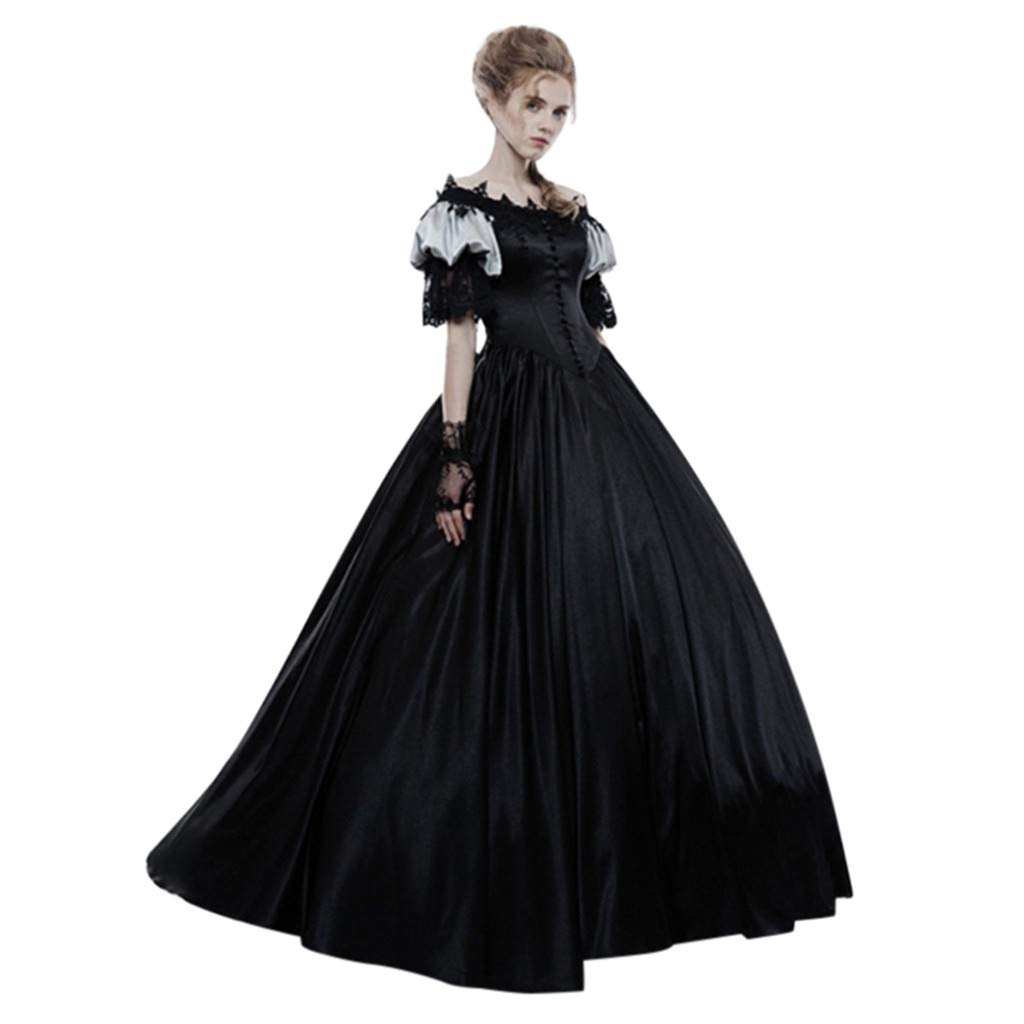 Victorian Rococo Dress for Womens Retro Medieval Renaissance Queen Ball Gown Cosplay Costume (S, Black) by sweetnice Women Dresses