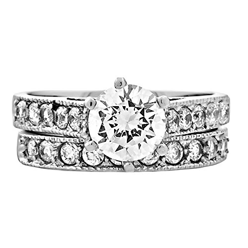 Jaclyn: 2.45ct 2 pc Brilliant Cut Ice on - Fire And Ice Wedding Ring Sets