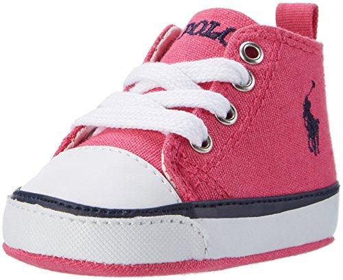 Ralph Lauren Baby Mädchen Harbour Hi Layette Krabbel-& Hausschuhe Pink (Fuchsia Canvas w/ navy pp)