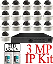 USG 3MP IP CCTV Kit: 1x 16 Ch @ 3MP NVR + 16x 3MP IP PoE 2.8-12mm Dome Cameras + 2x 3TB HDD (6TB Total) *** Ultra High Definition Video Surveillance For Your Home or Business!