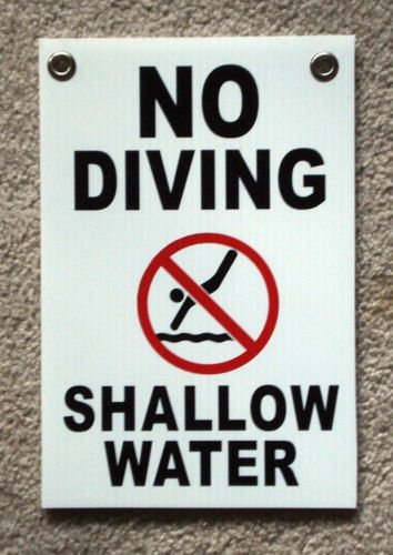 VINBOX NO DIVING SHALLOW WATER w/Symbol 8'', x12'', Plastic Coroplast Sign with Grommets from VINBOX