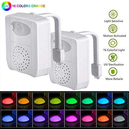 Light Night Slice - Toilet Lights Motion Detection 2 Pack, Funny 16 Color Change Motion Sensor Activated Bathroom LED Night Lamp Inside Potty Bowl with UV, Scented Aromatherapy Air Freshener for Kids Boys Pee Trainer