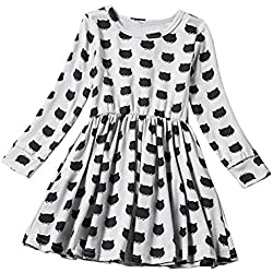 NNJXD Girl Long Sleeve Black Cat Dotted Casual Dress Size 2-3 Years Gray