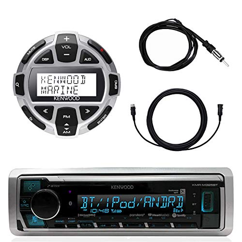 Kenwood Marine Boat Yacht Digital Media USB AUX Bluetooth Stereo Receiver (No CD), Kenwood Digital LCD Display Wired Remote, 40
