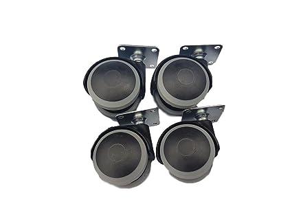 (Pack de 4 unidades) 50 mm de goma giratorio de goma doble ruedas placa