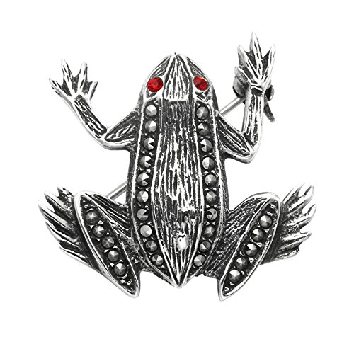 Wild Things Sterling Silver & Marcasite Frog Pin w/Red Crystal Eyes