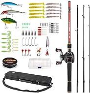 Lixada Fishing Rod and Reel Combo, 4-Piece Spinning/Casting Telescopic Fishing Pole, 2.1M Carbon Fiber Fishing