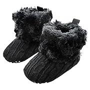 Gotd Baby Toddler Infant Girls Snow Boots Soft Sole Prewalker Crib Shoes (0~6 Month Length:4.3  US:2.5, Black)