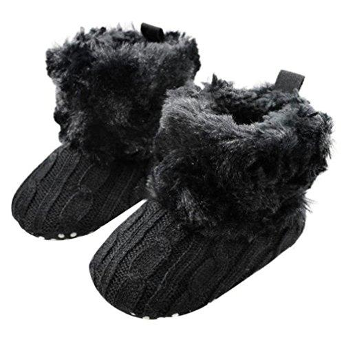 Gotd Baby Toddler Infant Girls Snow Boots Soft Sole Prewalker Crib Shoes (0~6 Month Length:4.3' US:2.5, Black)