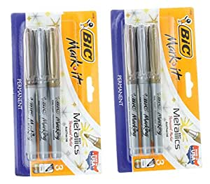 2 Packs BIC Mark It Metallic Fine Point Permanent Markers