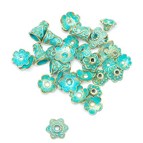 Antique Gold and Green Tibetan Patina Flower Bead End Caps Craft DIY Jewelry Making Supplies