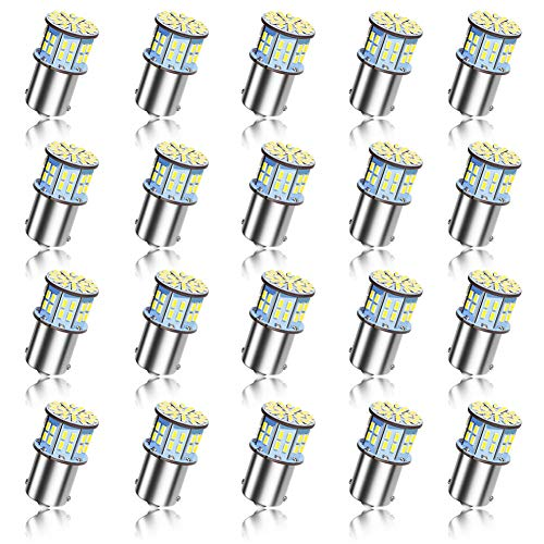 20Pcs 1141 1156 RV Led Light Bulbs, 12V Super Bright Low Power 1003 1073 BA15S 7506 50 SMD 3014 Replacement for Camper Boat Interior Indoor License Plate Lights Brake Lights 6000K Xenon Bright White