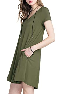 55bbf03b TINYHI Women's Casual V-Neck Plain Fit Simple Pocket T-Shirt Loose Swing  Dress