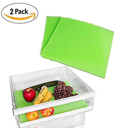 Fruit and Veggie Life Extender Liner by Tenquest 2-Pack, 15X14 Inch, Refrigerator Shelf - Produce Saver, Extends Life and Keeps Refrigerator Fresh Prevents Spoilage