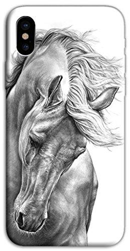 Mixroom - Cover Custodia Case In TPU Silicone Morbida Per Apple Iphone X M597 Cavallo Bianco E Nero