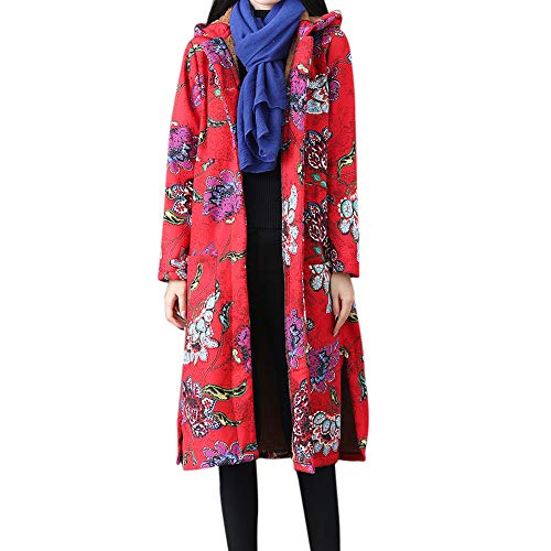 Limsea Women Coats Outwear Winter Vintage Print Button Long Maxi Loose Long SleeveRed XX-Large ()