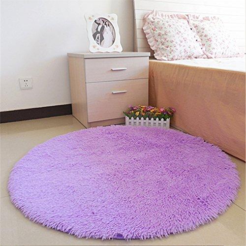 moonrug Super Soft Nursery Rug Anti-Skid Fluffy Round Children Area Rug for Bedroom Kids Room Woman Yoga Mat, 4 Feet, Purple