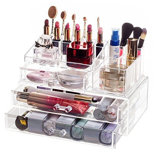 Choice Fun Acrylic Cosmetics Makeup Organizer 3 Drawers 2 Pieces Set