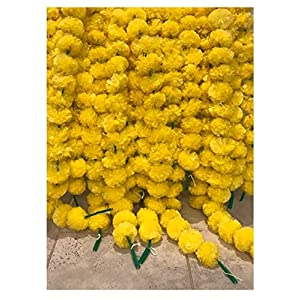 5 pack Artificial Yellow Marigold flower garlands/strings 5 ft long- for use in parties, celebrations, Indian weddings, Indian themed event, decorations, house warming, photo prop, Diwali, Ganesh Fest 5
