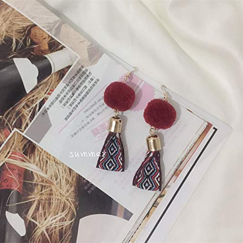 Hand Made Embroidery National Wind Bohemian Earrings Earring Ear Dangler Vintage Burgundy Ribbon Ball Hair Fall Winter hit Color Elegant Japan South Wedding Party (Wine Orang Ball ()