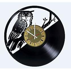 Large owl clock, Owl wall art, Owl ornament, Owl themed decor, Owl artwork, Bird wall clock, Owl lover gifts, Gifts for owl lovers, Owls decor, Owl house decor, Bird clocks, Birds gifts, Vinyl clock