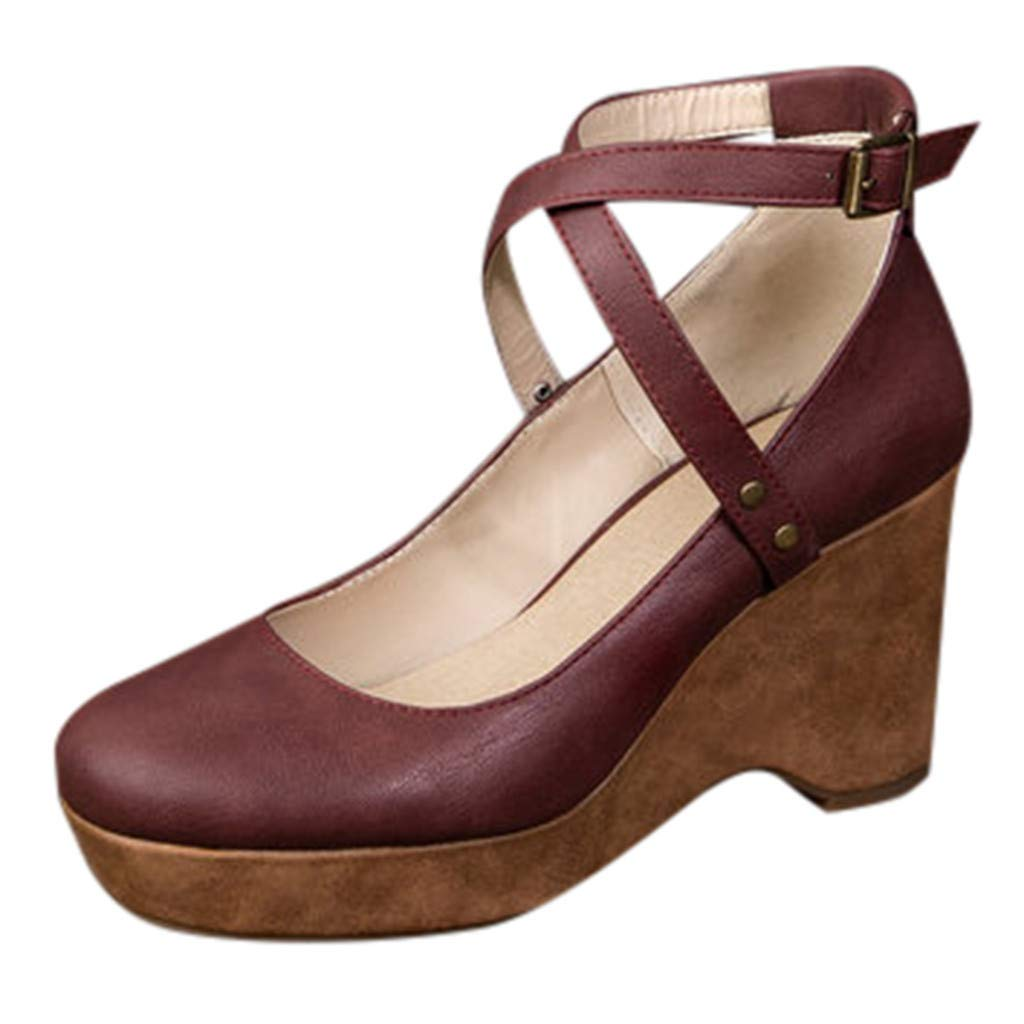 ZOMUSAR Shoes for Ladies, Womens Fashion Flat Wedges Round Toe Buckle Strap AnklThick Bottom Roman Sandals Wine