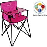 ciao baby - Portable High Chair with Rattle Teether Toy - Pink