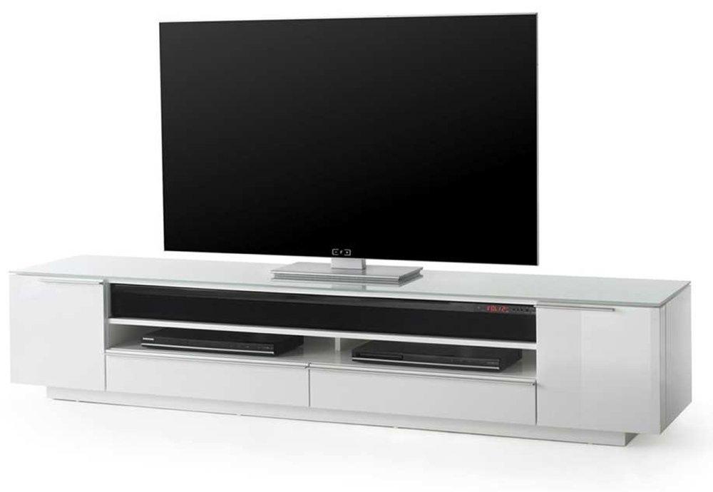 TV-Lowboard TV-Board in Hochglanz weiß, Ablage aus weißem Glas, 2 Türen, 2 Schubkästen, 1 Gerätefach, inkl. Sound-System, Maße: B/H/T ca. 196/41/41 cm