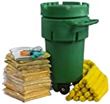 ESP SK-H50W 124 Piece 50 Gallons Hazmat Absorbent Wheeled Ecofriendly Spill Kit, 43 Gallons Absorbency, Green