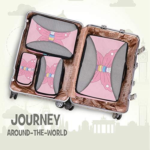 ピンクのユニコーンバタフライアート荷物パッキングキューブオーガナイザートイレタリーランドリーストレージバッグポーチパックキューブ4さまざまなサイズセットトラベルキッズレディース